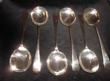"6 X VINTAGE SILVER PLATED GOOD SIZED 8"" SOUP SPOONS JSS EXCELLENT COND"